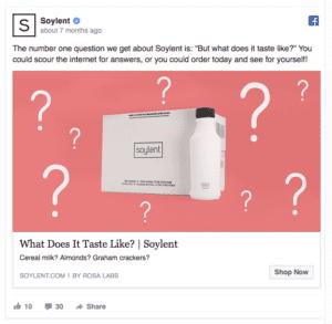 Soylent Facebook Ad Screenshot