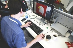 A man editing an image