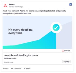 Asana Facebook Ad Screnshot