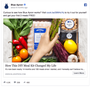 Blue Apron Facebook Ad Screenshot