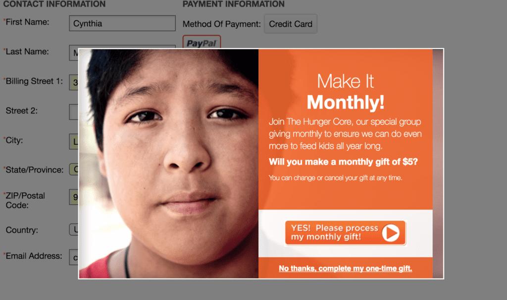 A website popup message screenshot